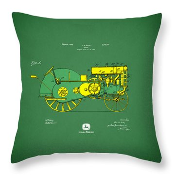 John Deere Tractor Patent Throw Pillow