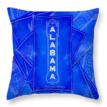 Alabama Theatre Marquee Blueprint Throw Pillow by Mark E Tisdale