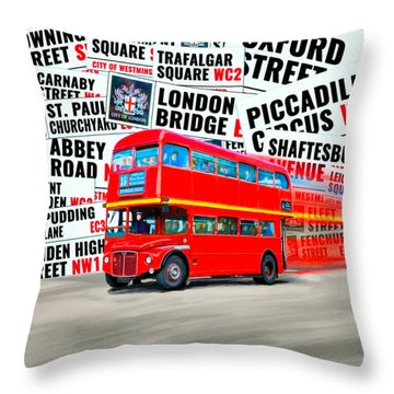 On A Bus For London Throw Pillow by Mark E Tisdale