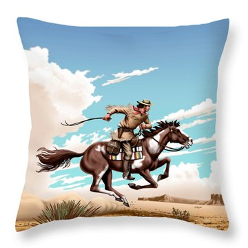 Pony Express Rider Historical Americana Painting Desert Scene Throw Pillow
