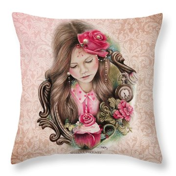 Throw Pillow featuring the drawing Make A Wish  by Sheena Pike