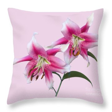 Pink And White Ot Lilies Throw Pillow