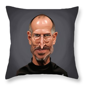 Throw Pillow featuring the drawing Celebrity Sunday - Steve Jobs by Rob Snow
