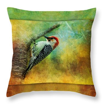 Woodpecker On Cherry Tree Throw Pillow