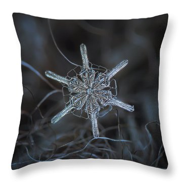 Throw Pillow featuring the photograph Snowflake Photo - Steering Wheel by Alexey Kljatov