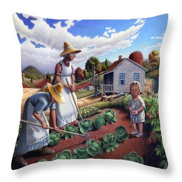 Family Vegetable Garden Farm Landscape - Gardening - Childhood Memories - Flashback - Homestead Throw Pillow