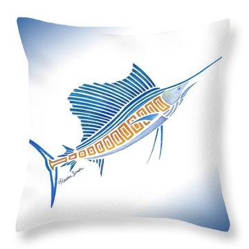 Tribal Sailfish Throw Pillow