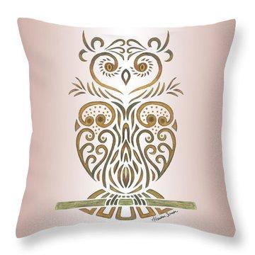 Tribal Owl Throw Pillow