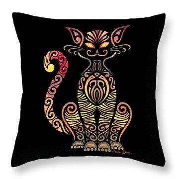 Tribal Cat Throw Pillow