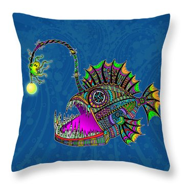 Throw Pillow featuring the drawing Electric Angler Fish by Tammy Wetzel