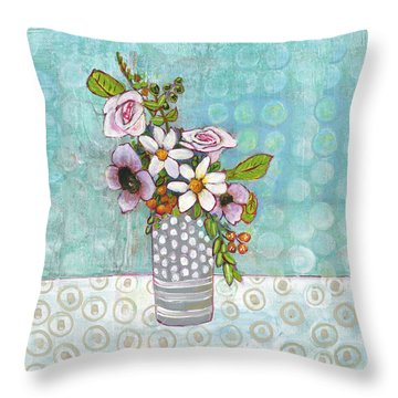 Sophia Daisy Flowers Throw Pillow by Blenda Studio