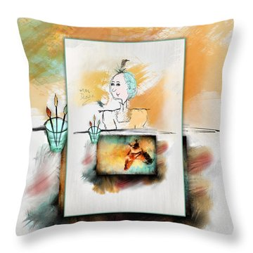 Mrs. Darwin's Theory Of Evolution Self Portrait  Throw Pillow