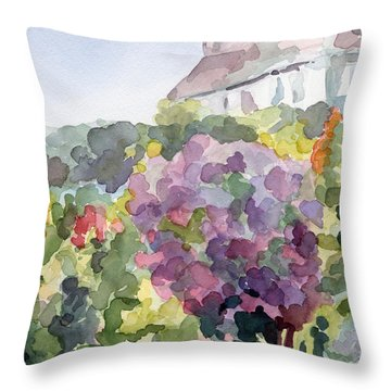 Purple Blossoms Monets Garden Watercolor Paintings Of France Throw Pillow by Beverly Brown