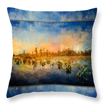 Sunset Over The Okefenokee Throw Pillow