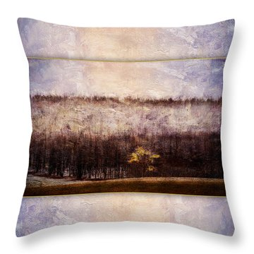 Gold Leafed Tree In Snow Throw Pillow
