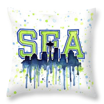 Seattle Watercolor 12th Man Art Painting Space Needle Go Seahawks Throw Pillow by Olga Shvartsur