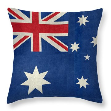 Australian Flag Vintage Retro Style Throw Pillow