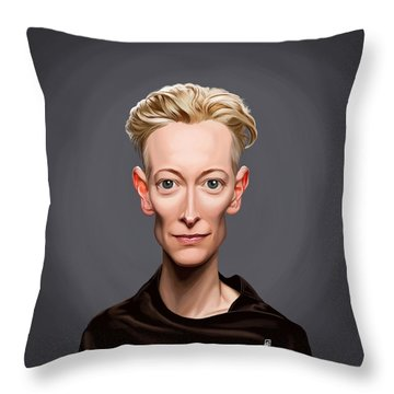Throw Pillow featuring the drawing Celebrity Sunday - Tilda Swinton by Rob Snow