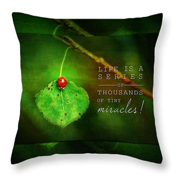 Ladybug On Leaf Thousand Miracles Quote Throw Pillow