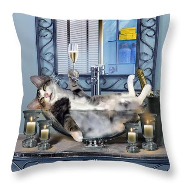 Funny Pet Print With A Tipsy Kitty  Throw Pillow