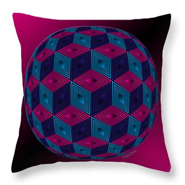 Spherized Pink Purple Blue And Black Hexa Throw Pillow