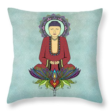 Throw Pillow featuring the drawing Electric Buddha by Tammy Wetzel
