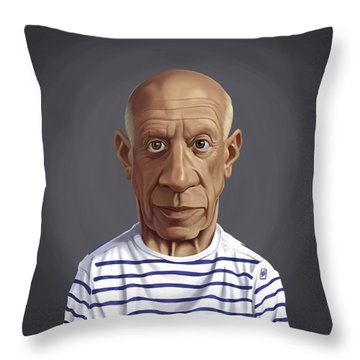 Throw Pillow featuring the drawing Celebrity Sunday - Pablo Picasso by Rob Snow