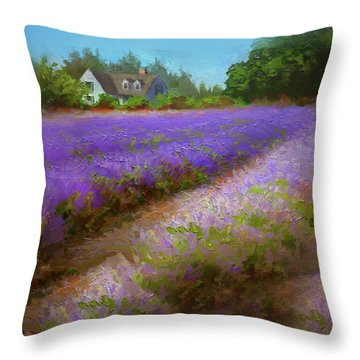 Impressionistic Lavender Field Landscape Plein Air Painting Throw Pillow