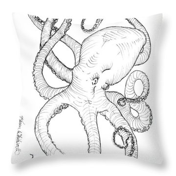 Come Let Me Give You A Hug Octopus Drawing Throw Pillow