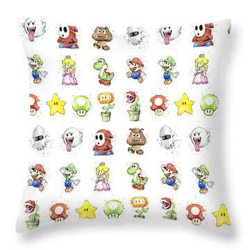 Mario Characters In Watercolor Throw Pillow