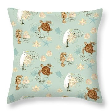 Coastal Waterways - Green Sea Turtle Rectangle 2 Throw Pillow