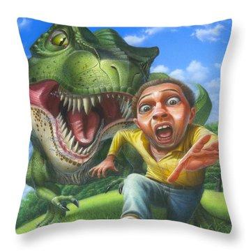 Tyrannosaurus Rex Jurassic Park Dinosaur - T Rex - Paleoart- Fantasy - Extinct Predator Throw Pillow