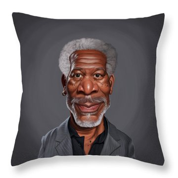 Throw Pillow featuring the drawing Celebrity Sunday - Morgan Freeman by Rob Snow