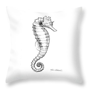 Throw Pillow featuring the drawing Seahorse Black And White Sketch by Karen Whitworth
