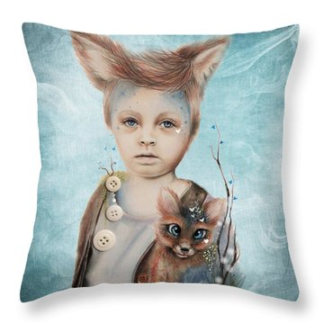 Throw Pillow featuring the drawing A Boy And His Fox   by Sheena Pike