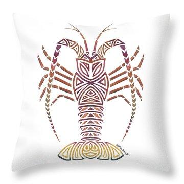 Tribal Caribbean Lobster Throw Pillow