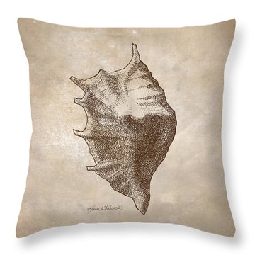 Throw Pillow featuring the drawing Distressed Antique Nautical Seashell 1  by Karen Whitworth