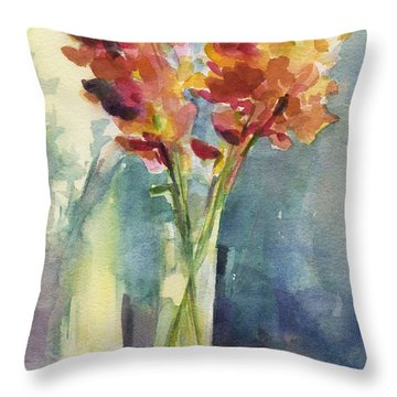 Snapdragons In Morning Light Floral Watercolor Throw Pillow by Beverly Brown