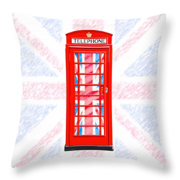 Throw Pillow featuring the photograph Thoroughly British Flair - Classic Phone Booth by Mark E Tisdale