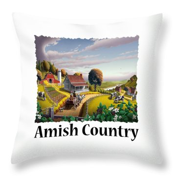 Amish Country - Appalachian Blackberry Patch Country Farm Landscape 2 Throw Pillow