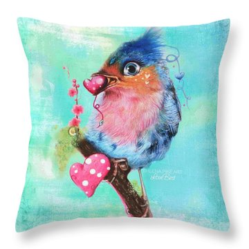 Throw Pillow featuring the mixed media Love Bird by Sheena Pike