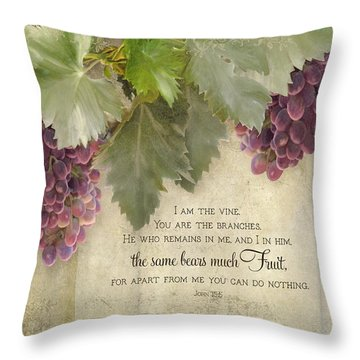 Tuscan Vineyard - Rustic Wood Fence Scripture Throw Pillow by Audrey Jeanne Roberts