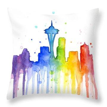 Seattle Rainbow Watercolor Throw Pillow by Olga Shvartsur