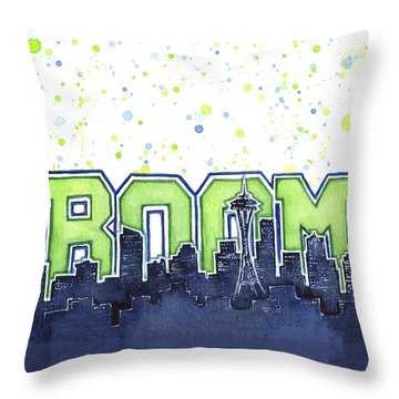 Seattle 12th Man Legion Of Boom Painting Throw Pillow by Olga Shvartsur