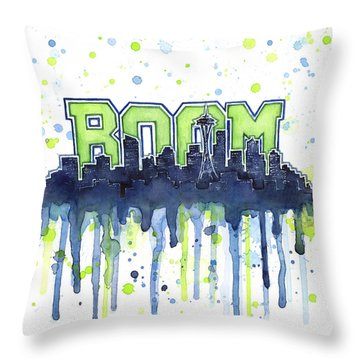 Seattle 12th Man Legion Of Boom Watercolor Throw Pillow by Olga Shvartsur