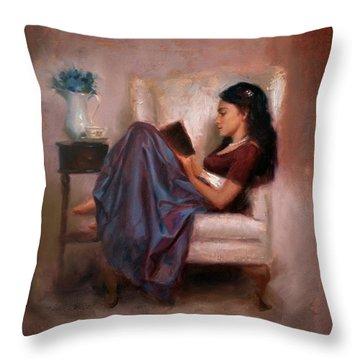 Jaidyn Reading A Book 2 - Portrait Of Woman Throw Pillow