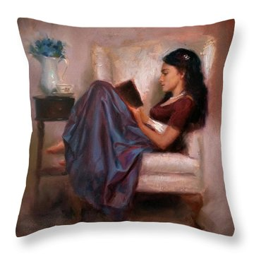 Jaidyn Reading A Book 2 - Portrait Of Woman Throw Pillow