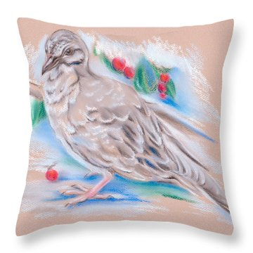 Winter Mourning Dove Throw Pillow