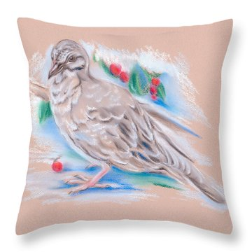 Winter Mourning Dove Throw Pillow by MM Anderson