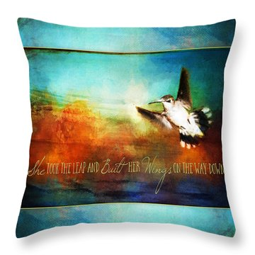 She Built Her Wings Throw Pillow